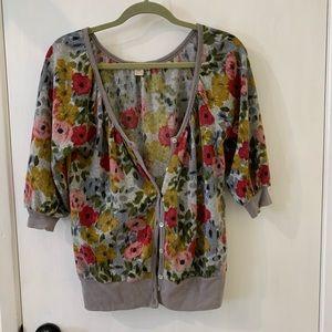 Floral Half Sleeve Button Up Lightweight Cardigan